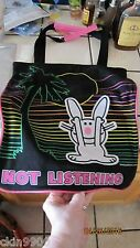 """HAPPY BUNNY TOTEBAG BUNNY """"NOT LISTING"""" Large Tote Bag CUTE NEW W/TAGS"""