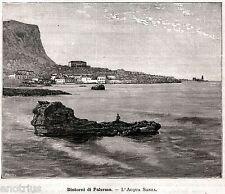Palermo: Borgata Acquasanta. Sicilia. Sicily. Trinacria. Stampa Antica. 1892