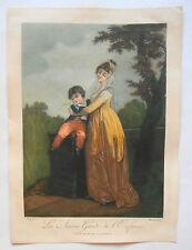 Belle Aquatinte XIXème - La Sauvegarde de l'enfance - Boilly - Macolan