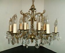 Vintage BRASS French Provincial  Crystal Chandelier Canape