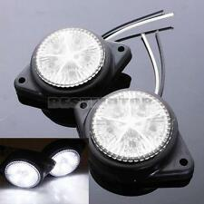 2x White LED Side Marker Lights Indicators Lamp Caravan Lorry Truck Trailer 12V