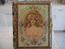 Beautiful Antique Victorian Photo Album Celluloid Portrait Of Lady Violets Roses