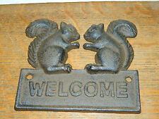 Cast Iron Squirrel Welcome Sign Plaque Building Door Wall Mount Home Garden