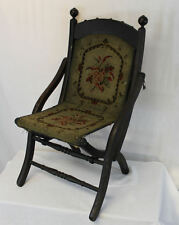 Victorian Folding Childs Campaign carpet Seat and Back Chair