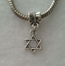 Jewish Star Of David Israel Hebrew Dangle Charm Bead for European Style Bracelet