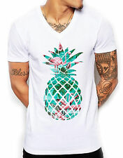 Flamingo Pineapple V Neck T Shirt Deep Fitted Bright Ibiza Holiday Men Tight Top