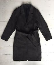 COS CHARCOAL TWEED WOOL MIX BELTED TRENCH JACKET COAT  SZ 38 UK 12