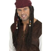 Mens Pirate Wig & Scarf Fancy Dress of the Caribbean Jack Sparrow Dreadlocks Fun