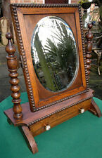 Antique Oak Dressing Table Swing Mirror with Drawer