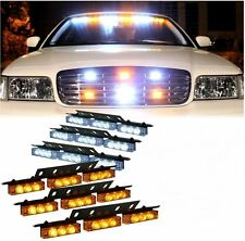 Zone Tech 54 LED Car Truck Strobe Emergency Lights Deck Dash Grille White Amber