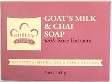 NUBIAN HERITAGE GOAT'S MILK & CHAI SOAP WITH ROSE EXTRACTS SOFTENING 5 OZ.