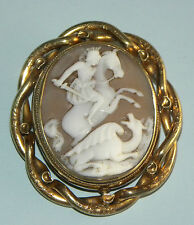 ANTIQUE VICTORIAN HAND CARVED SHELL CAMEO GOLD GILDED METAL LOCKET BROOCH