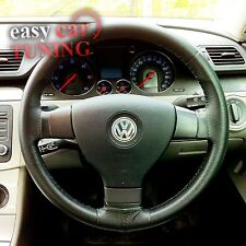 FOR VW POLO MK4 2000-2005 BLACK REAL GENUINE LEATHER STEERING WHEEL COVER