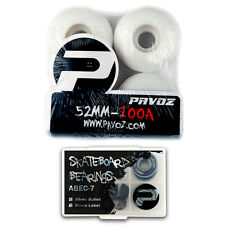 Road Rider Skateboard Wheels 52mm 100A White Color With Bearings Pavoz