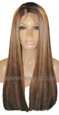 Remy Human Hair Wig Front Lace 22 Long Brown Blonde 4 27 Highlights Roots Moklox