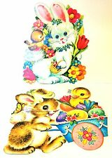 Cardboard Easter Bunny Wall Hanging Die Cut Egg Duck Chick Vintage