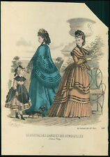 VICTORIAN antique 1869 Parisian Fashion Print Plate HAND COLORED lady girl dog