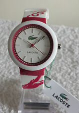 Designer Lacoste 2010523 Unisex Ladies Mens Goa Pink and White Strap Watch NEW