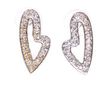 Luxurious Heart Shaped Diamante Encrusted Chrome Stud Earrings.(Zx100)