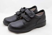 Womens 12 M Apex Black Leather Comfort Shoes Hook n Loop Comfort Sneakers NEW