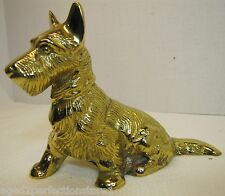 Vintage Scottie Dog Bank metal figural still piggy home savings account