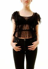 Free People Women's New Sweet Surprise Top Sheer Black Size XS RRP £88 BCF71