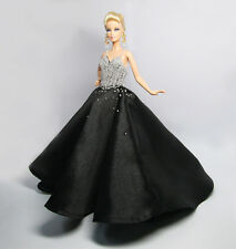 Handmade Italy Silk Bead Evening Gown Outfit Dress Zip for Barbie Silkstone Doll