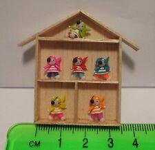Figuras de arcilla a mano (6) en un marco de madera Casa de Muñecas Miniatura Accesorios
