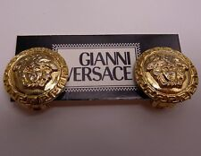 Auth Vintage Gianni Versace gold Medusa Earrings