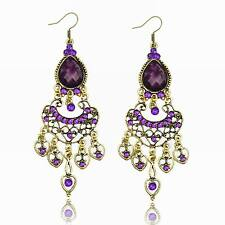 Purple Resin Heart Love Crystal CZ Water Drop Tassel Fringe Dangle Hook Earrings
