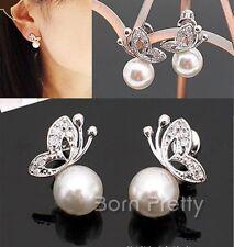 1 Paar Perle Ohrringe Kristall Schmetterling Braut Ohrstecker Ohrschmuck