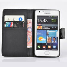 black WALLET Leather Case Phone Cover Samsung Galaxy S2 II GT-I9100 uk seller