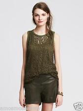 NWT Banana Republic Heritage Women Sheer Lace Trapeze Tank Top Shirt Green M $59