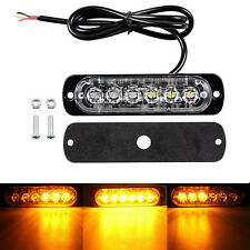Car Truck Van 6 LED Flash Emergency Beacon Hazard Warning Strobe Light Bar Amber