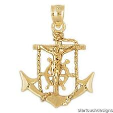 New 14k Yellow Gold Mariners Cross Crucifix Anchor Pendant