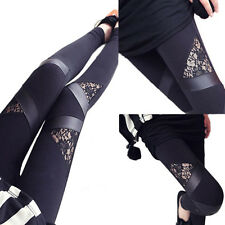 Lady Womens PU Leather Lace Skinny Pants Stretch Leggings Pencil Trousers
