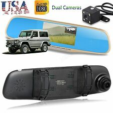 New HD 1080P Dual Lens Rearview Mirror Camera Car DVR Dash Cam Video Recorder