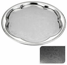 Engraved Silver Coloured Metal Tray Silver Serving Tray Tea Tray Round Tea Tray