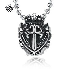 Silver celtic cross crown pendant stainless steel shield necklace small