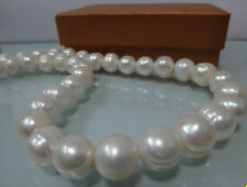 HUGE 12-14MM NATURAL SOUTH SEA WHITE BAROQUE PEARL NECKLACE 23""