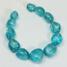 Neon Blue Apatite Tumbled Freeform Nugget  Beads (12)