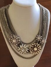 Authentic Stella & Dot Metropolitan Mixed Chains Necklace Bib Statement Crystal