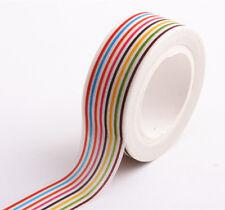 Rainbow line Masking Washi Tape Sticky Decor Stationery Adhesive Sticker 1.5cm