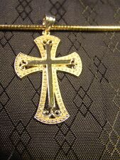 "Pretty Sterling Silver Vermeil Gold Open Scroll Cross 18"" Snake Chain Necklace"