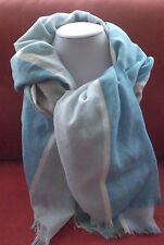 Ladies Linen Look Long Scarf Blue Green Taupe White Striped Scarve Shawl Sarong