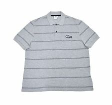 [3042]lacoste Mens Regular Fit striped Polo Shirt,Silver Chine black Size XL $98