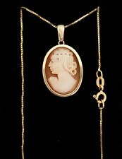 Vintage 9ct Yellow Gold shell cameo pendant. On a 9ct gold chain.Birmingham 1981
