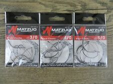 3 PACKAGES - MATZUO 3/0 - 4/0 - 5/0 WEEDLESS X-WIDE SHINER HOOKS - 3 SIZES