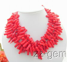 N1004036 5Strds Red Bar Coral Necklace