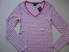 NWT RALPH LAUREN SPORT Women V-Neck L/S Knit T-Shirt Pima Pink/White L